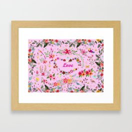 Say I love you with flowers Framed Art Print