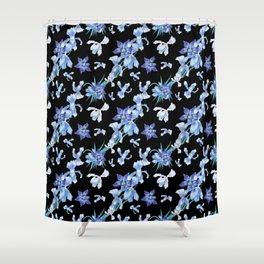 Orchid chic decor (blue & black palette) Shower Curtain