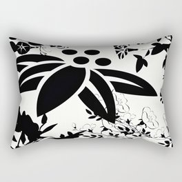 Damask Black and White Toile Floral Graphic Rectangular Pillow