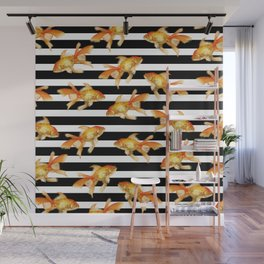 The Golden One II - b&w stripes Wall Mural