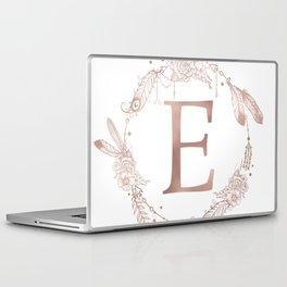 Letter E Rose Gold Pink Initial Monogram Laptop & iPad Skin