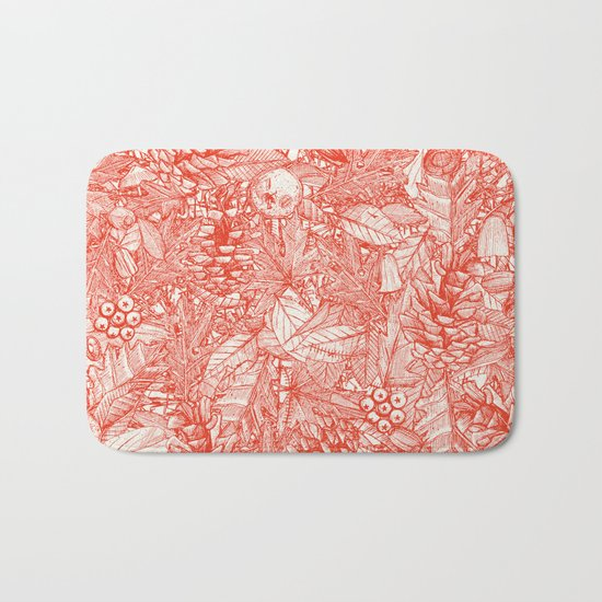 forest floor fire orange ivory Bath Mat
