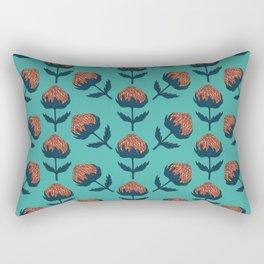 Abstract Australian Banksia Flower Pattern on teal Rectangular Pillow