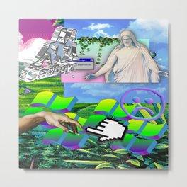 Jesus Vaporwave Metal Print