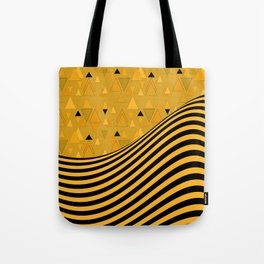 Yellow , black , striped Tote Bag