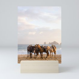 Horses on the beach Mini Art Print