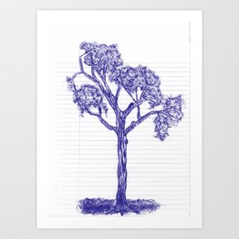 Blue Pen Hand Drawn Tree Art Print