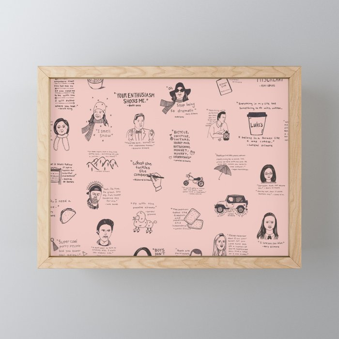 Gilmore Girls Quotes in Pink Framed Mini Art Print