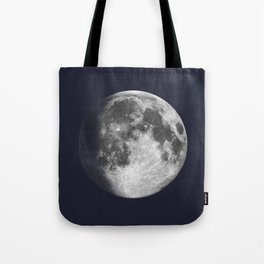 Waxing Gibbous Moon on Navy Tote Bag