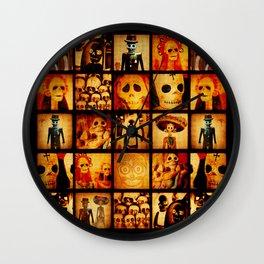Spooky Calavera Skulls Wall Clock