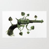 gun Area & Throw Rugs featuring Gun by mariotarrago