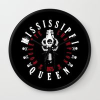 1975 Wall Clocks featuring Mississippi Queen by PsychoBudgie