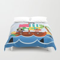 pirate ship Duvet Covers featuring PIRATE SHIP (AQUATIC VEHICLES) by Alapapaju