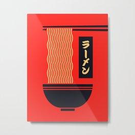 Ramen Japanese Food Noodle Bowl Chopsticks - Red Metal Print