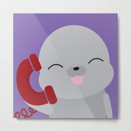 Seal on the Phone Metal Print