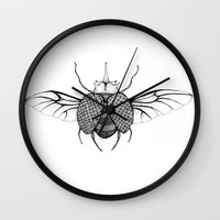 beetle Wall Clocks featuring Beetle by Freja Friborg