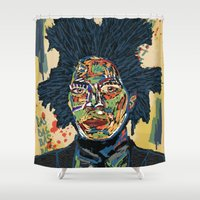 basquiat Shower Curtains featuring BASQUIAT by Blaz Rojs