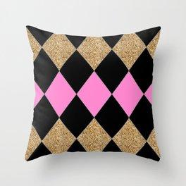 Harlequin Gold Black Pink Throw Pillow