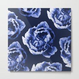 Pastel Blue Flowers On A Dark Blue Background #decor #society6 #buyart Metal Print