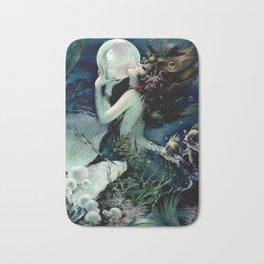 Henry Clive: Mermaid with Pearl dark teal Bath Mat