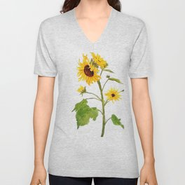 One sunflower watercolor arts Unisex V-Neck