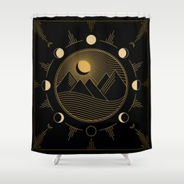 Lunar Phases With Mountains Shower Curtain