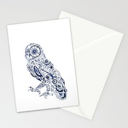 Folk Floral Indigo Owl Stationery Cards