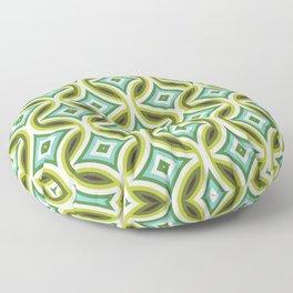 Green, Turquoise & Brown Circular Geometric Retro Pattern Floor Pillow