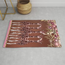 Giraffes with Flowers Safari Jungle Rug