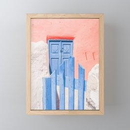 491P. Blue Wood Door, Santorini, Greece Framed Mini Art Print
