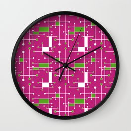Modern Intersecting Lines in Pink, Lime and White Wall Clock