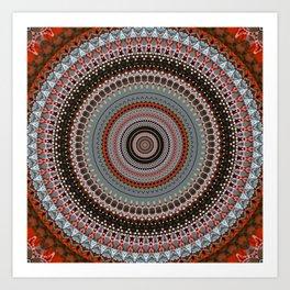 Orange Red Grey Boho Mandala Art Print