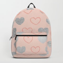 Elegant hand painted romantic coral pink silver foil hearts Backpack