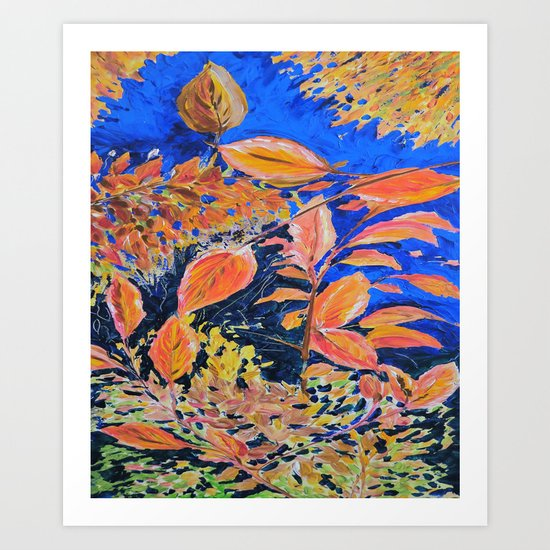 colored autumnleaves under the blue sky Art Print