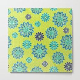 Blue mandala flowers pattern on neon green Metal Print