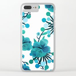 Turquoise Flower Delight Clear iPhone Case