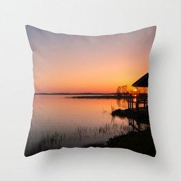 Sunset On A Calm Lake Throw Pillow