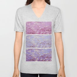 Vincent Van Gogh : Almond Blossoms Lavender Panel Art Unisex V-Neck