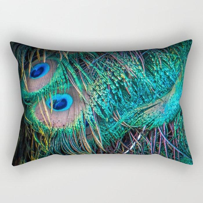 Peacock Feathers Rectangular Pillow