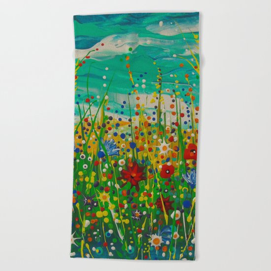 Flowers of happiness Beach Towel