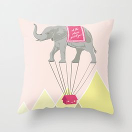 Fly Elephant Oh the places you'll go Throw Pillow