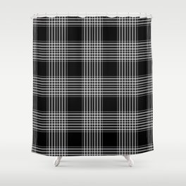 Black & Gray Plaid Print Shower Curtain