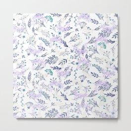 Botanical navy blue lilac watercolor summer floral Metal Print