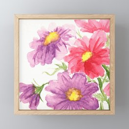 Pink and Purple Cosmos Framed Mini Art Print
