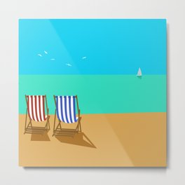 Deckchairs on the Beach Metal Print