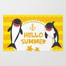Hello Summer, Kawaii orca Rug