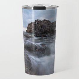 Rocks on the sea Rocky beach blue hour cloudscape Travel Mug