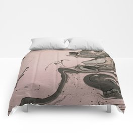 Pink and gray marbled paper IV Comforters