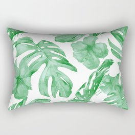 Tropical Island Leaves Green on White Rectangular Pillow
