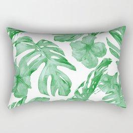 Tropical Island Leaves Green on White Rectangular Pillow